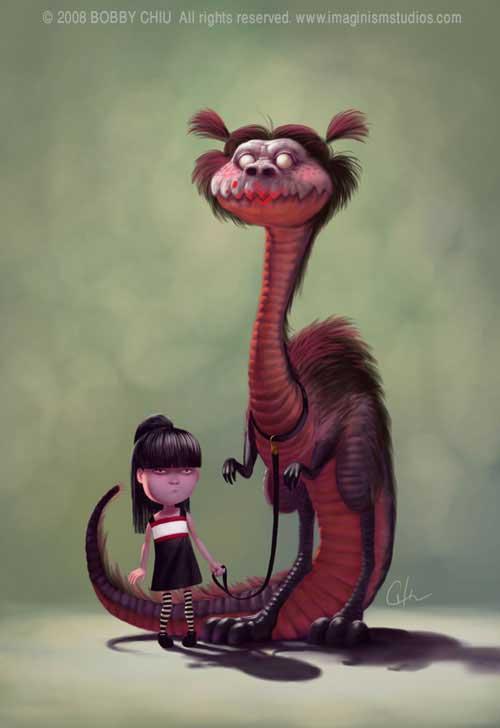 dragon-gothic-girl-cute-bobby